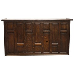 1930s Art Deco Tiger Oak Dry Bar or Counter with Drawers and Raised Panels