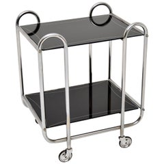 1930s Art Deco Tubular Steel and Glass Drinks Trolley