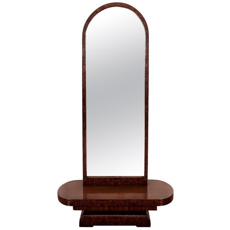 1930s Art Deco Vanity, Mahogany and Burr Mahogany Veneer, France For Sale