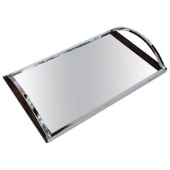 1930s Art Deco Walnut Chrome Mirror Cocktail Drinks Tray
