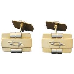 1930s Art Deco White and Yellow Gold Cufflinks