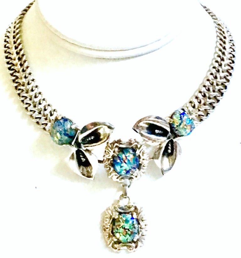 Vintage Beautiful Dichroic Glass Bar Design Necklace 925 Sterling Silver NC 1671