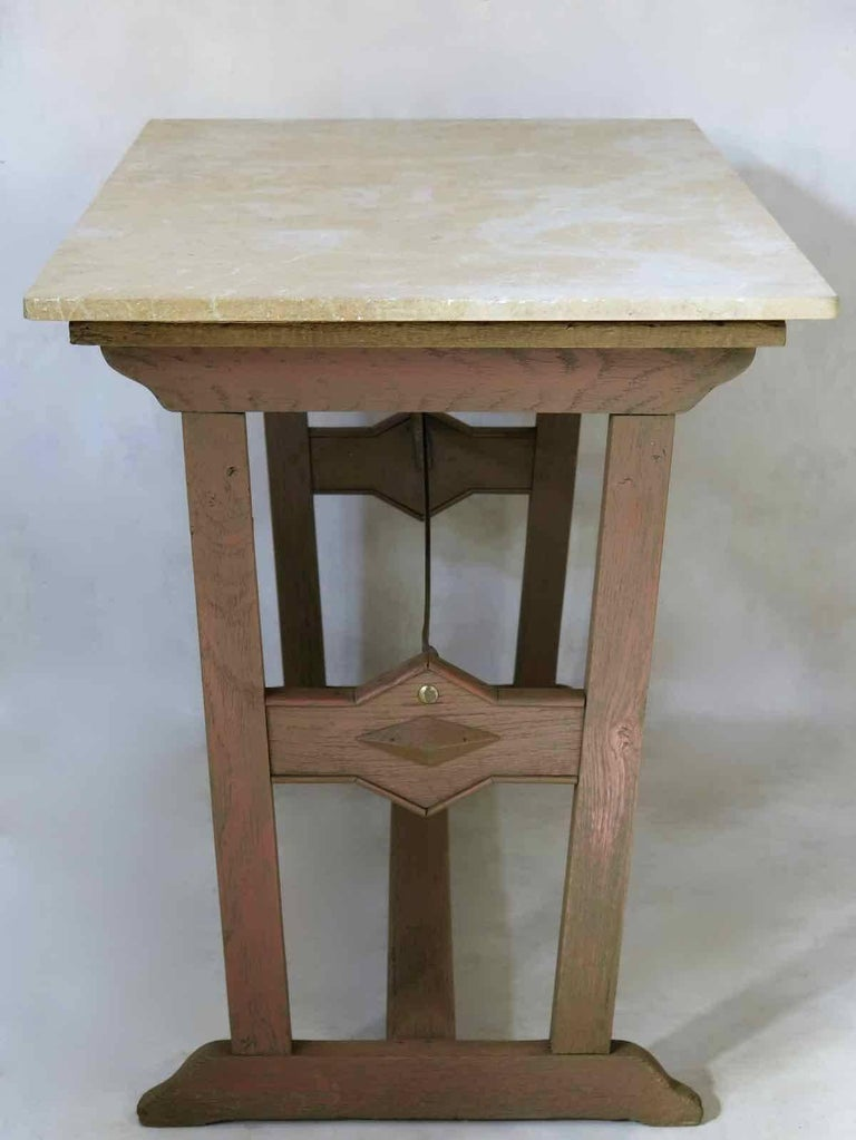 Arts and Crafts 1930s Arts & Crafts Bistro Table with Marble Top from France For Sale