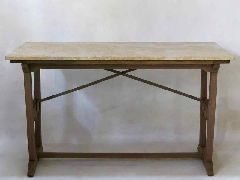 French 1930s Arts & Crafts Bistro Table with Marble Top from France For Sale