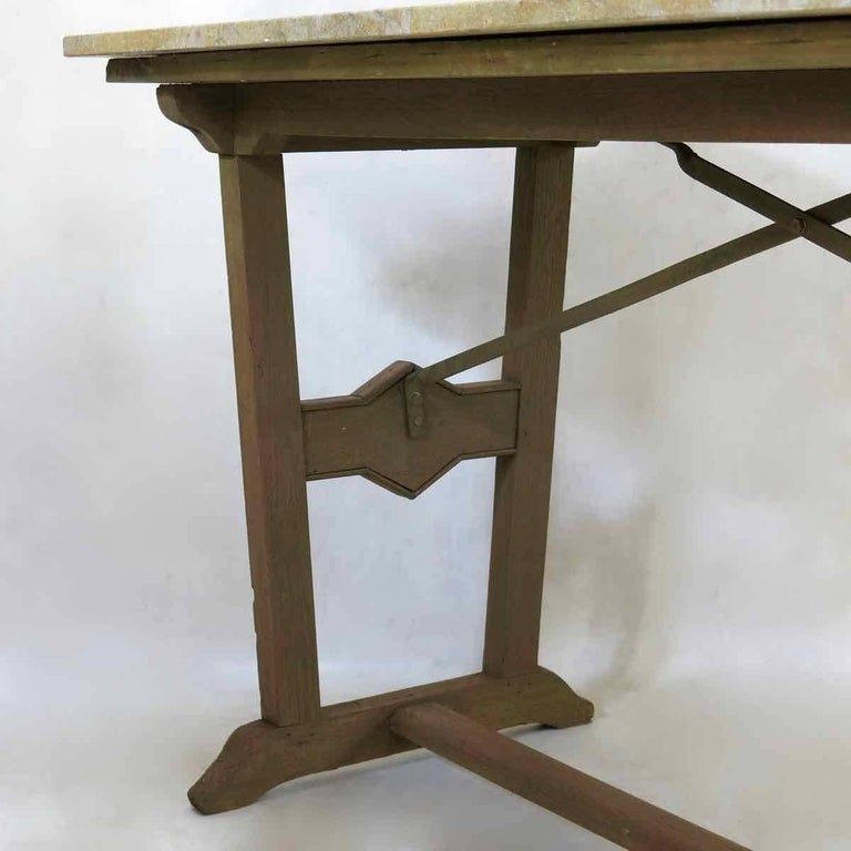 Painted 1930s Arts & Crafts Bistro Table with Marble Top from France For Sale