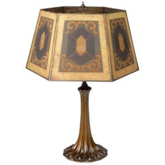 1930s Arts & Crafts Era Table Lamp with Painted Steel Mesh Shade