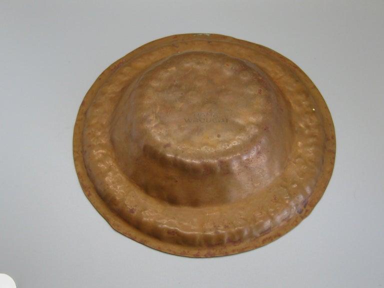 1930s Arts & Crafts Erhard Glander Hand Hammered Wrought Copper Bowl Wisconsin For Sale 1