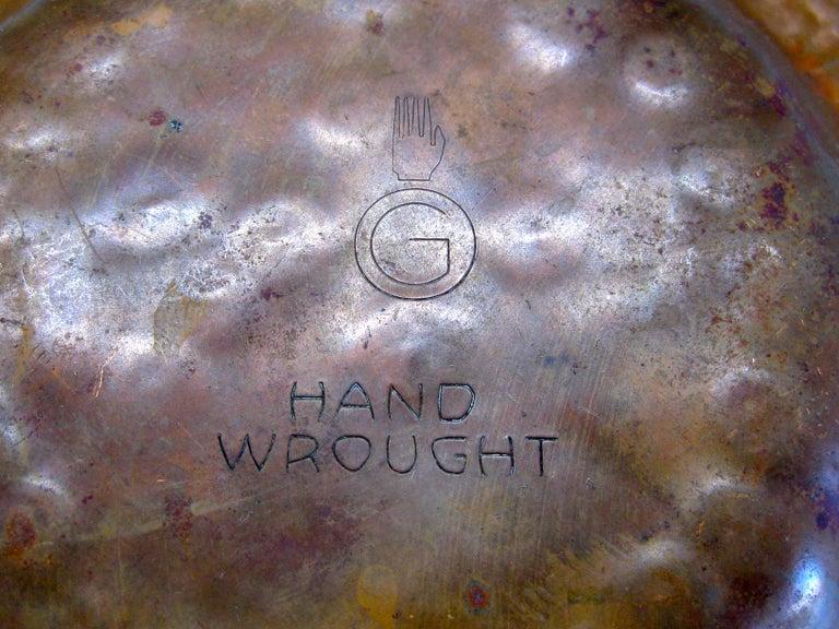 1930s Arts & Crafts Erhard Glander Hand Hammered Wrought Copper Bowl Wisconsin For Sale 2