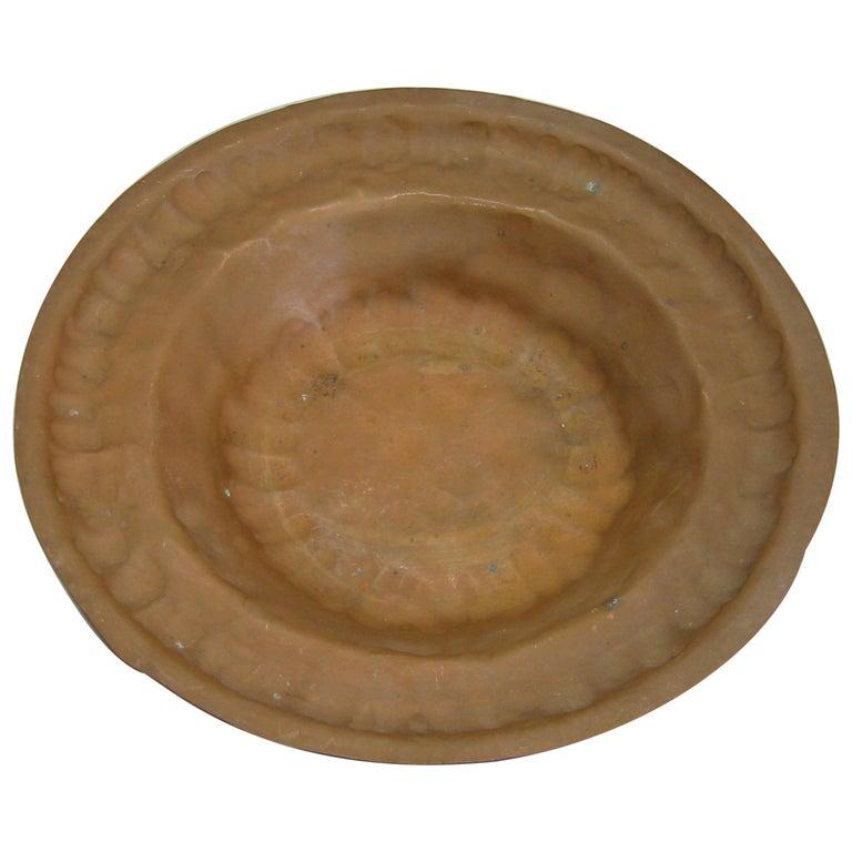1930s Arts & Crafts Erhard Glander Hand Hammered Wrought Copper Bowl Wisconsin For Sale