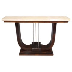 1930s Astonishing Art Deco French Console in Parchment and Wood