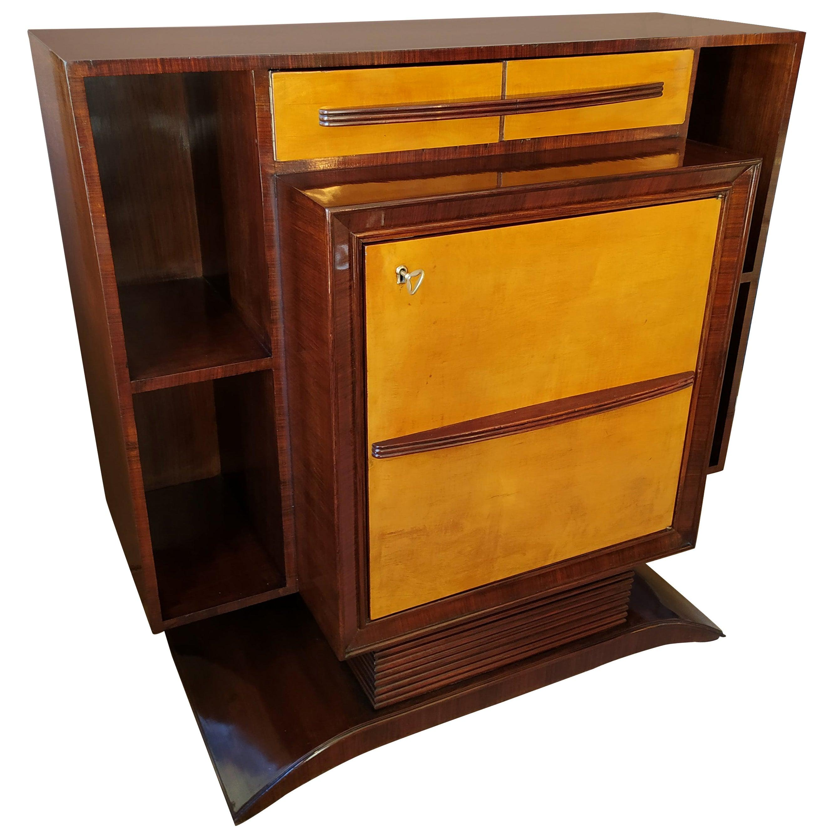 1930s Astonishing Italian Art Deco Cabinet Designed by Silvio Cavatorta