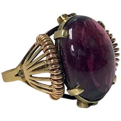 1930s Austrian Pink Tourmaline Gold Ring