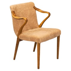 1930's Axel Larsson ''1522'' Chair in Stained Birch and Sheepskin