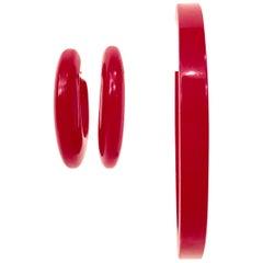 1930'S Bakelite Cherry Red Demi Parure Bracelet & Hoop Earrings