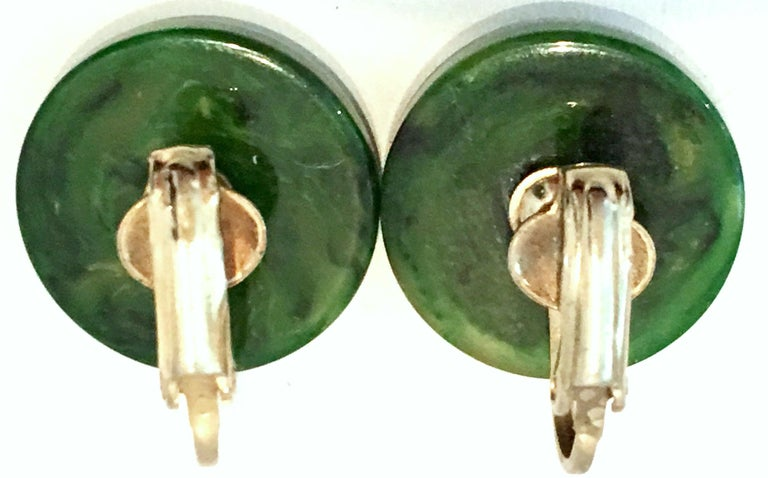 1930'S Bakelite Earrings & Bangle Bracelet Pair Set Of Four Pieces For Sale 4