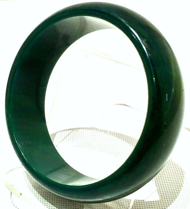 Women's or Men's 1930'S Bakelite Hunter Green Large Bangle Bracelet For Sale