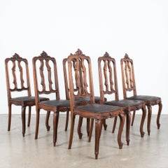 1930s Baroque Dining Chairs with Embossed Leather Seats, Set of Six