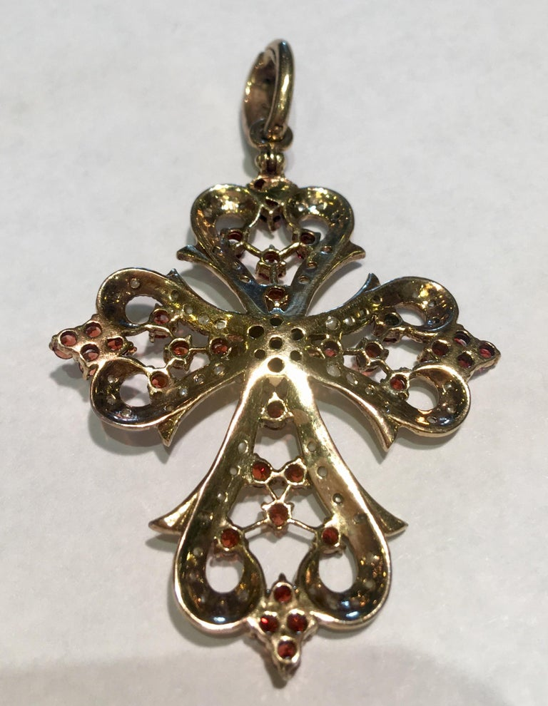 Women's 1930s Baroque Garnet and Seed Pearl Yellow Gold Filigree Cross Enhancer Pendant For Sale
