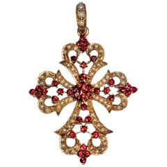 1930s Baroque Garnet and Seed Pearl Yellow Gold Filigree Cross Enhancer Pendant