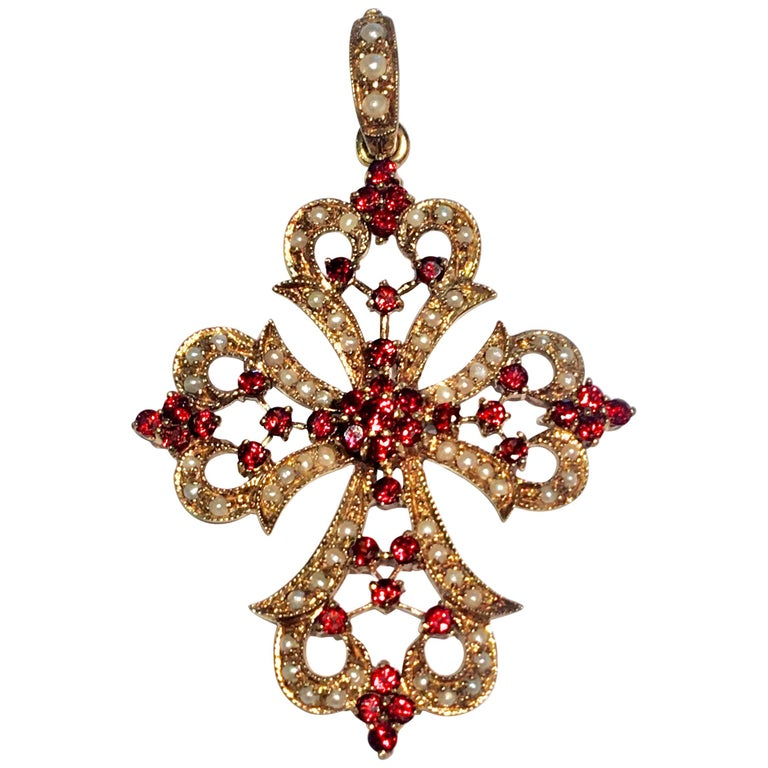 1930s Baroque Garnet and Seed Pearl Yellow Gold Filigree Cross Enhancer Pendant For Sale