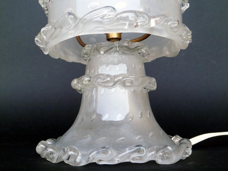 1930s Barovier Italian Art Deco Murano Glass Table Lamp In Excellent Condition For Sale In Brescia, IT
