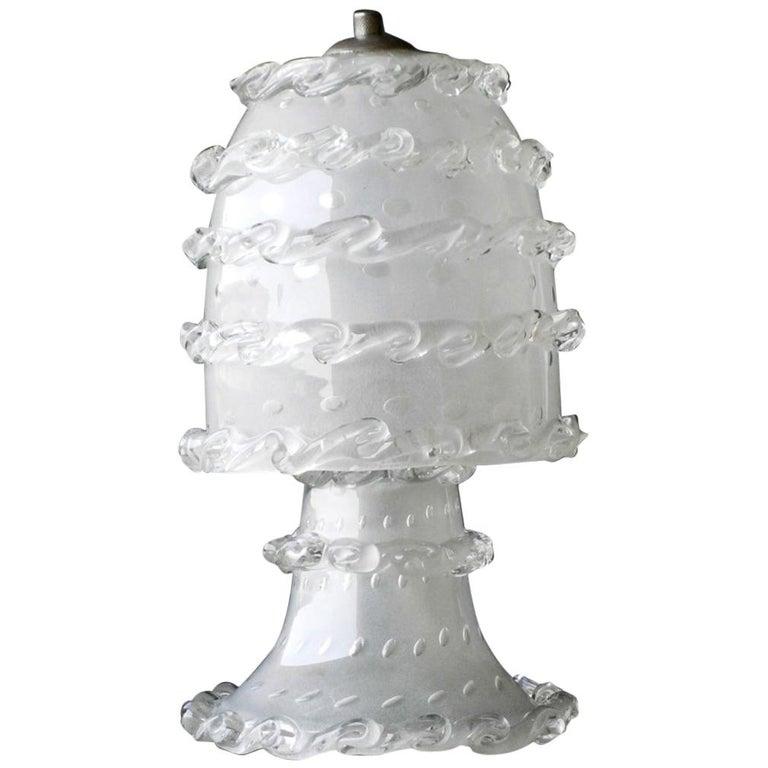 1930s Barovier Italian Art Deco Murano Glass Table Lamp For Sale