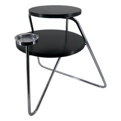 1930s Bauhaus Coffee Table Thonet B153 Chromed Tubular Steel Black Wood