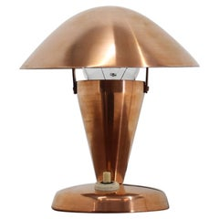 1930s Bauhaus Copper Small Table Lamp, Czechoslovakia