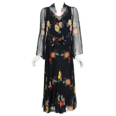 1930's Beaded Colorful Floral Print Illusion Silk-Chiffon Belted Dress & Jacket