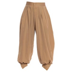 1930S Beige Wool Gabardine  Voluminous Theatrical Mens Pants From Hollywood