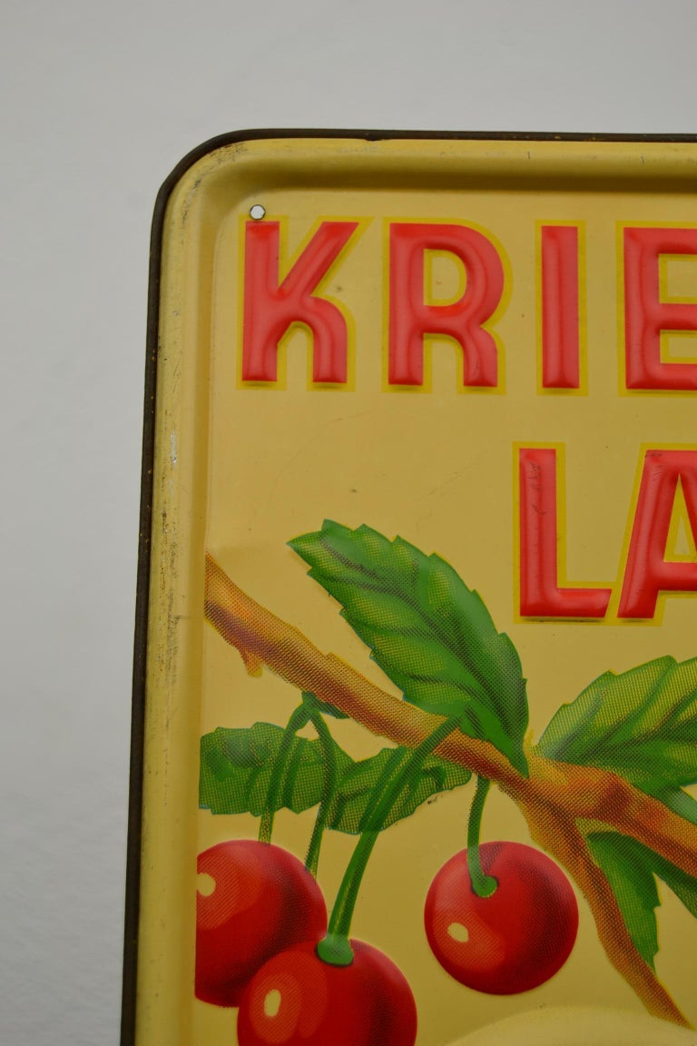 1930s Belgian Beer Sign for Cherry Beer Lambic, Art Deco Tin Sign For Sale 6