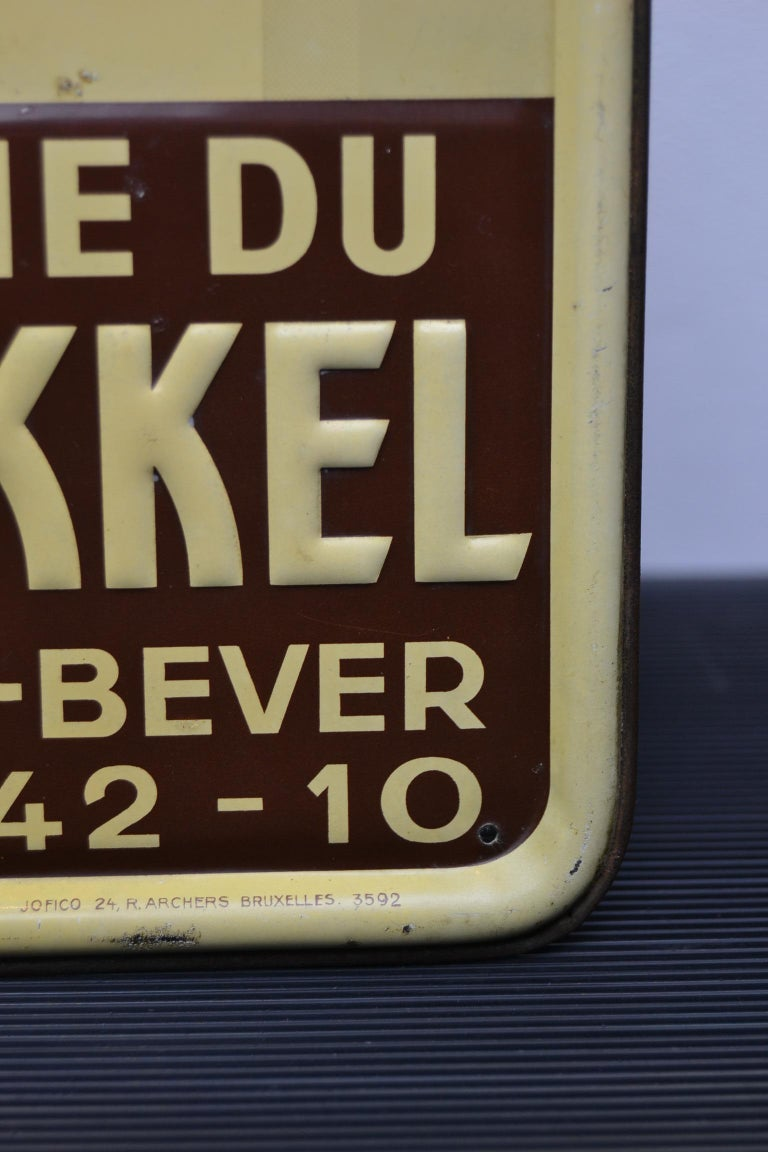 1930s Belgian Beer Sign for Cherry Beer Lambic, Art Deco Tin Sign For Sale 9