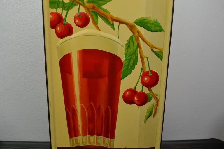 1930s Belgian Beer Sign for Cherry Beer Lambic, Art Deco Tin Sign In Good Condition For Sale In Antwerp, BE