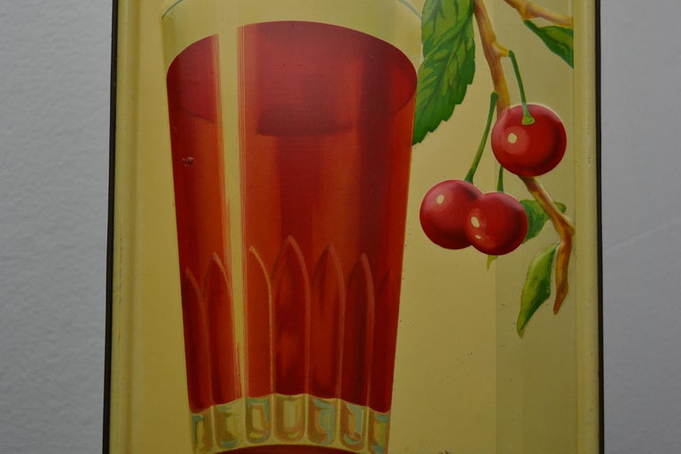 20th Century 1930s Belgian Beer Sign for Cherry Beer Lambic, Art Deco Tin Sign For Sale