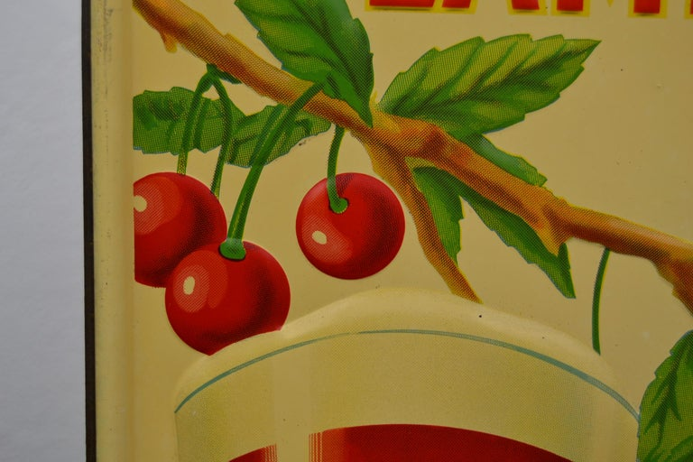 1930s Belgian Beer Sign for Cherry Beer Lambic, Art Deco Tin Sign For Sale 1