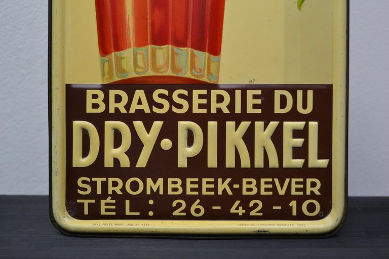 1930s Belgian Beer Sign for Cherry Beer Lambic, Art Deco Tin Sign For Sale 2