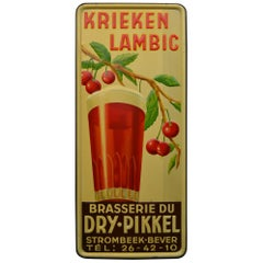 1930s Belgian Beer Sign for Cherry Beer Lambic, Art Deco Tin Sign