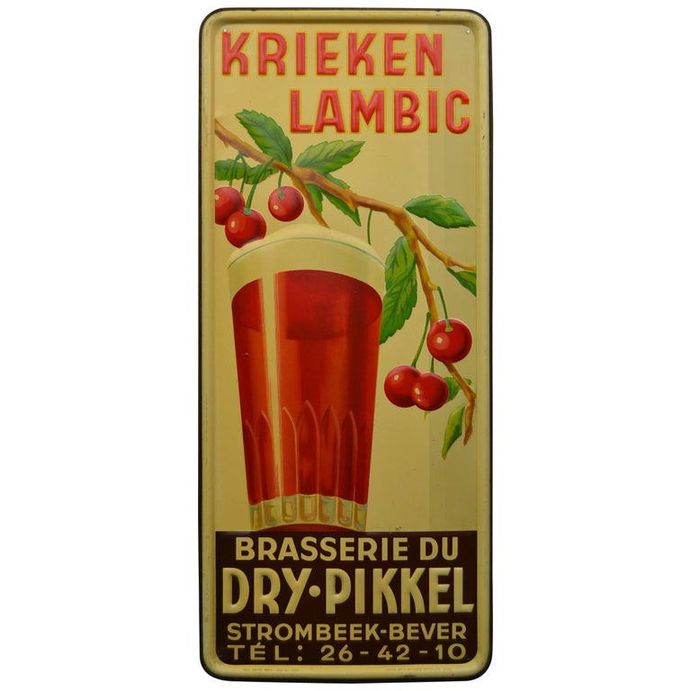 1930s Belgian Beer Sign for Cherry Beer Lambic, Art Deco Tin Sign For Sale