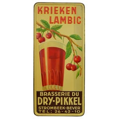 1930s Belgian Beer Sign for Cherry Beer Lambic