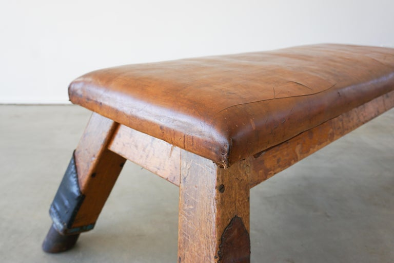 Leather 1930s Belgian Gym Bench For Sale