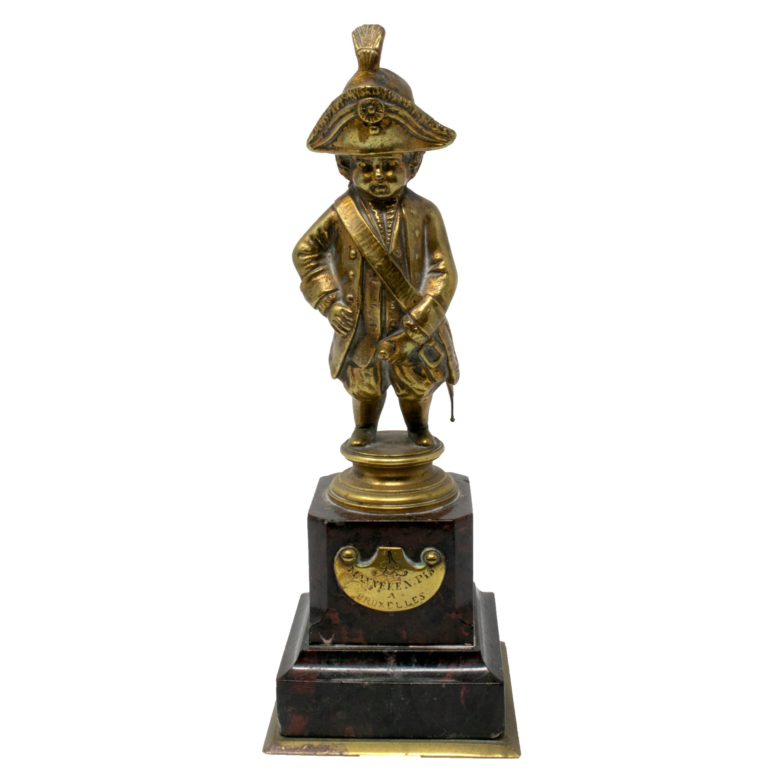 1930s Belgium Manneken Pis Le Grand Tour Bronze Figure with Marble Base