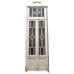 1930s Beveled Glass Door Set with Transom in Original Frame