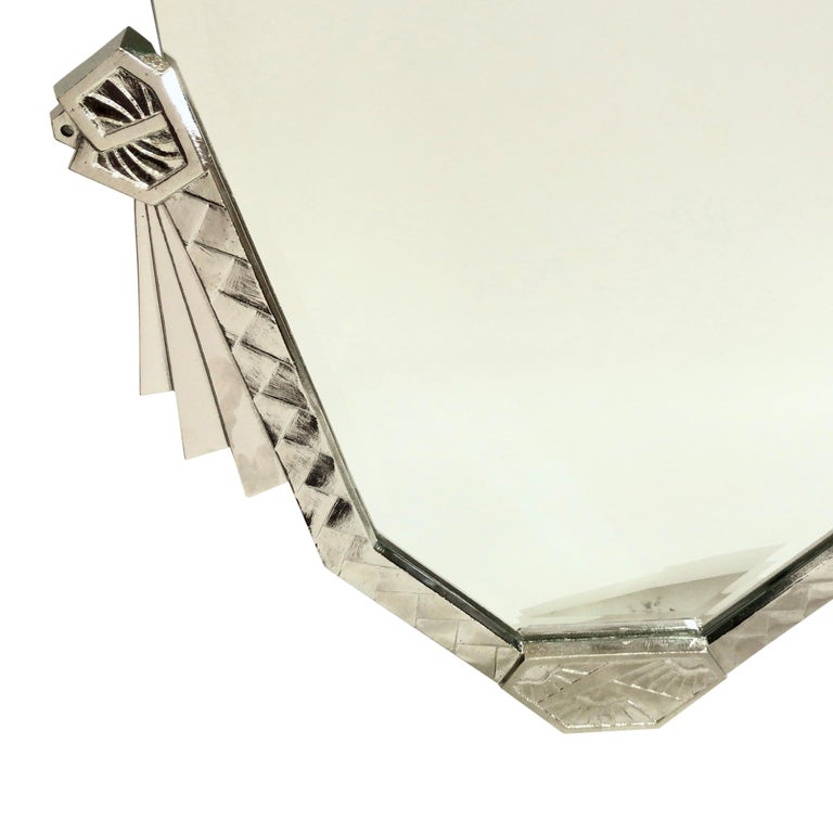 1930s Bevelled Mirror with Nickeled Bronze Frame Original French Art Deco In Good Condition For Sale In Baden-Baden, DE