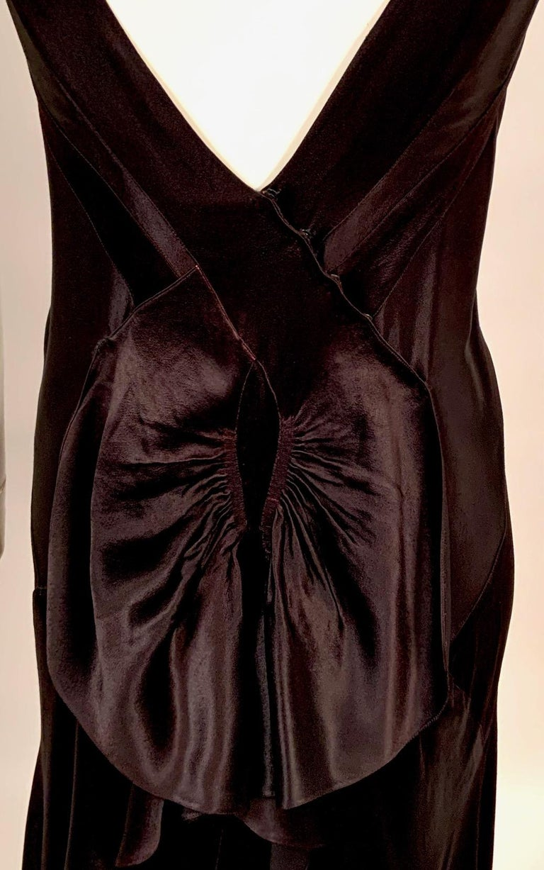 1930's Bias Cut Black Silk Satin Evening Gown with Ruffled Back For Sale 7