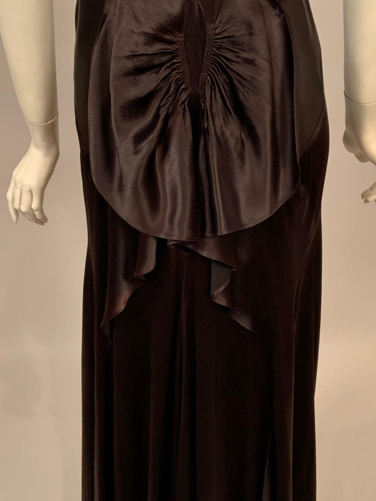 1930's Bias Cut Black Silk Satin Evening Gown with Ruffled Back For Sale 8