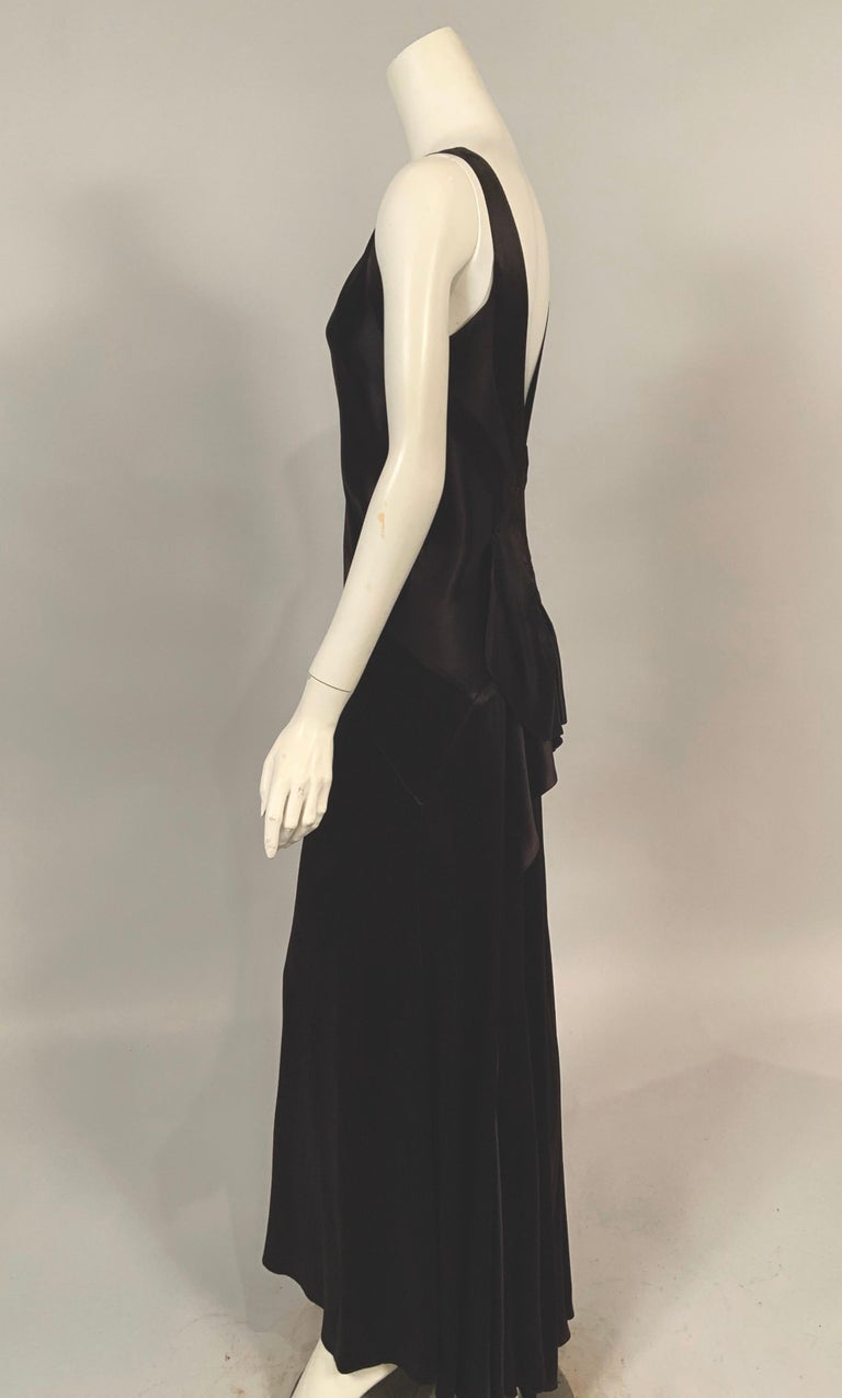 1930's Bias Cut Black Silk Satin Evening Gown with Ruffled Back For Sale 9