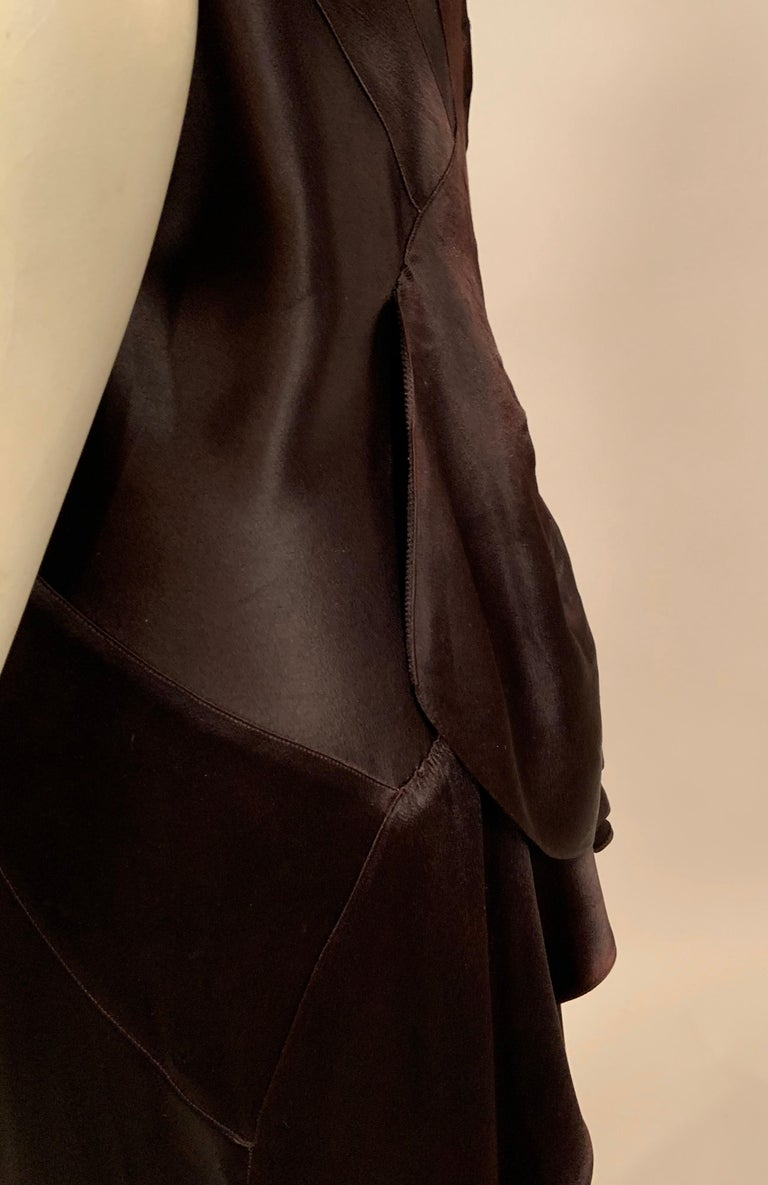 1930's Bias Cut Black Silk Satin Evening Gown with Ruffled Back For Sale 11
