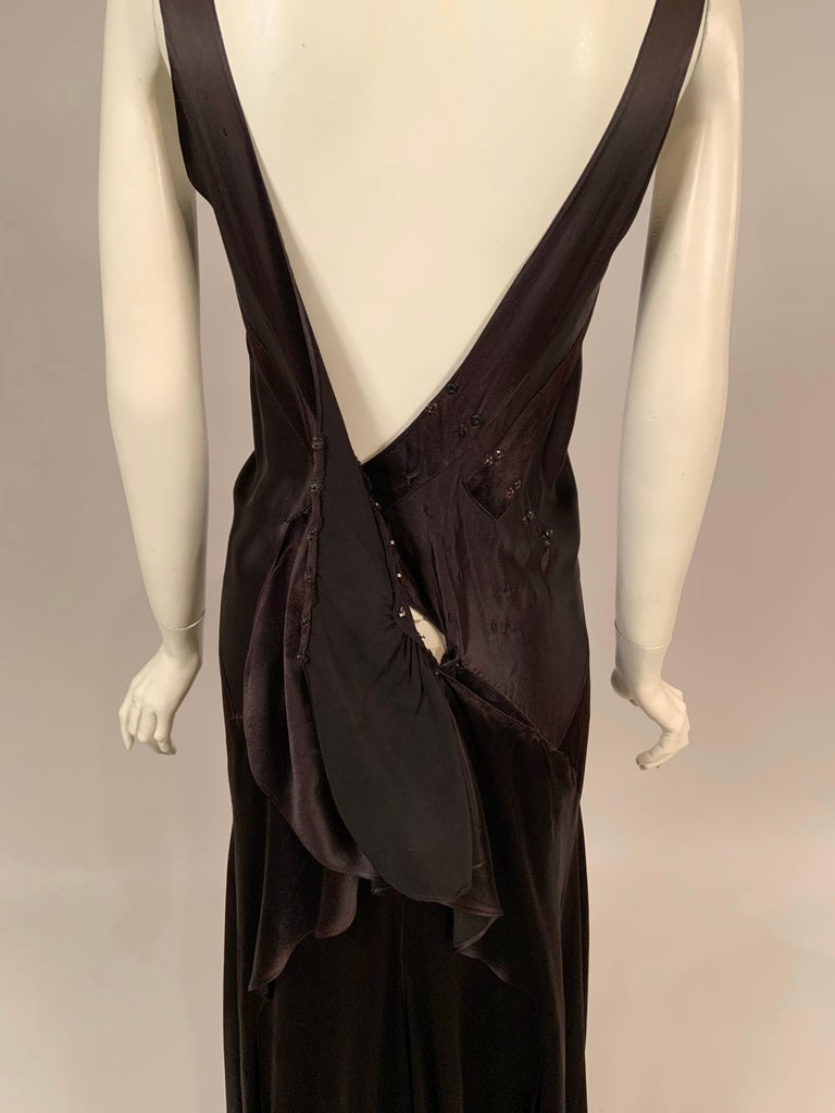 1930's Bias Cut Black Silk Satin Evening Gown with Ruffled Back For Sale 12
