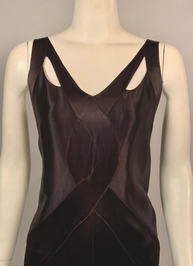 1930's Bias Cut Black Silk Satin Evening Gown with Ruffled Back In Good Condition For Sale In New Hope, PA