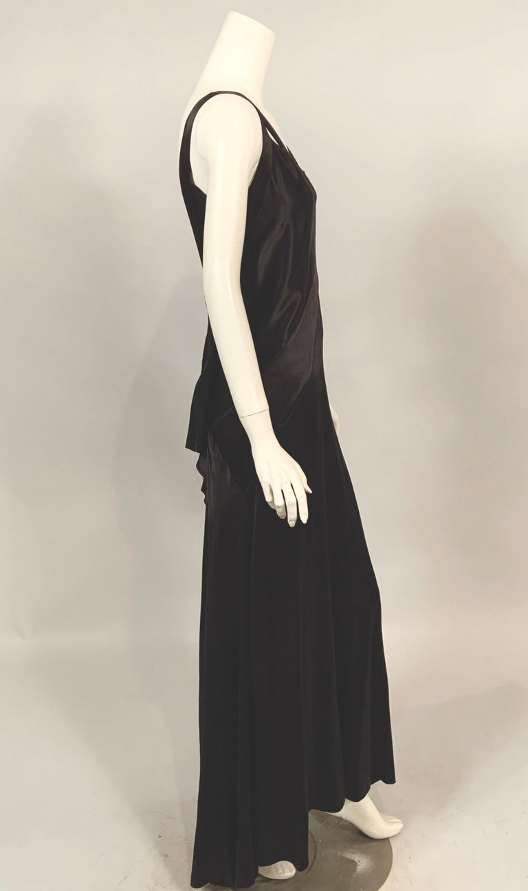 1930's Bias Cut Black Silk Satin Evening Gown with Ruffled Back For Sale 1